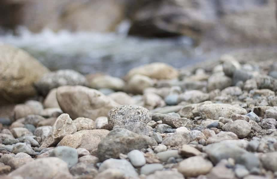 Flints and pebbles on a creekbed