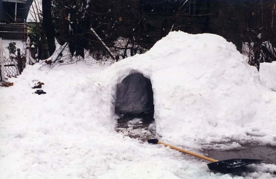 Quinzee with Shovel Out Front