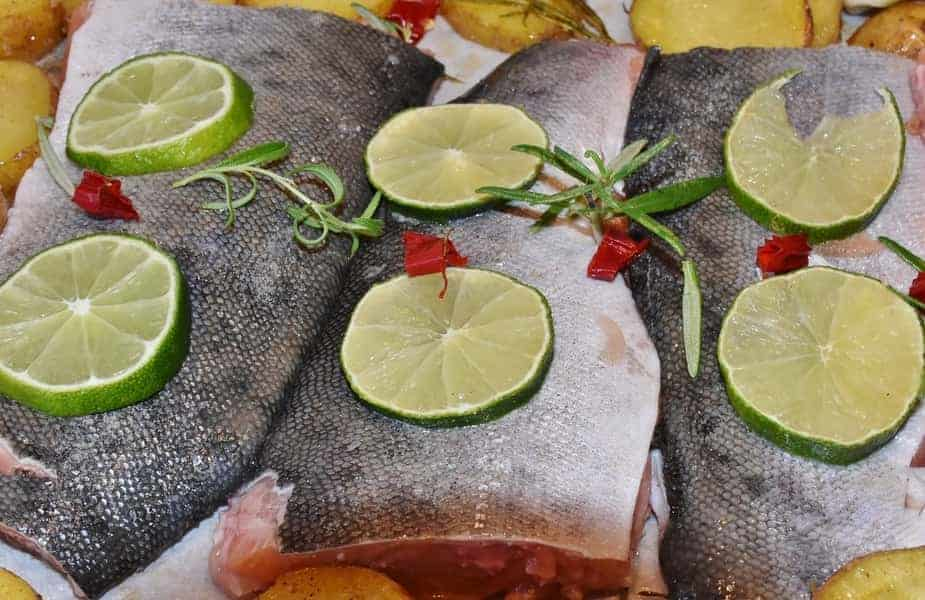 raw salmon with lime wedges on top