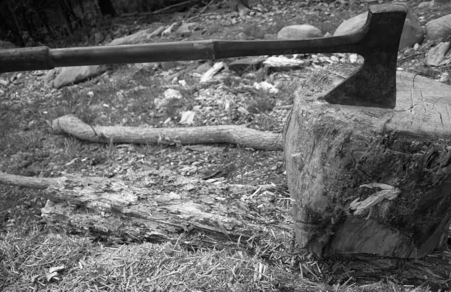 Axe in Stump Rocks Near