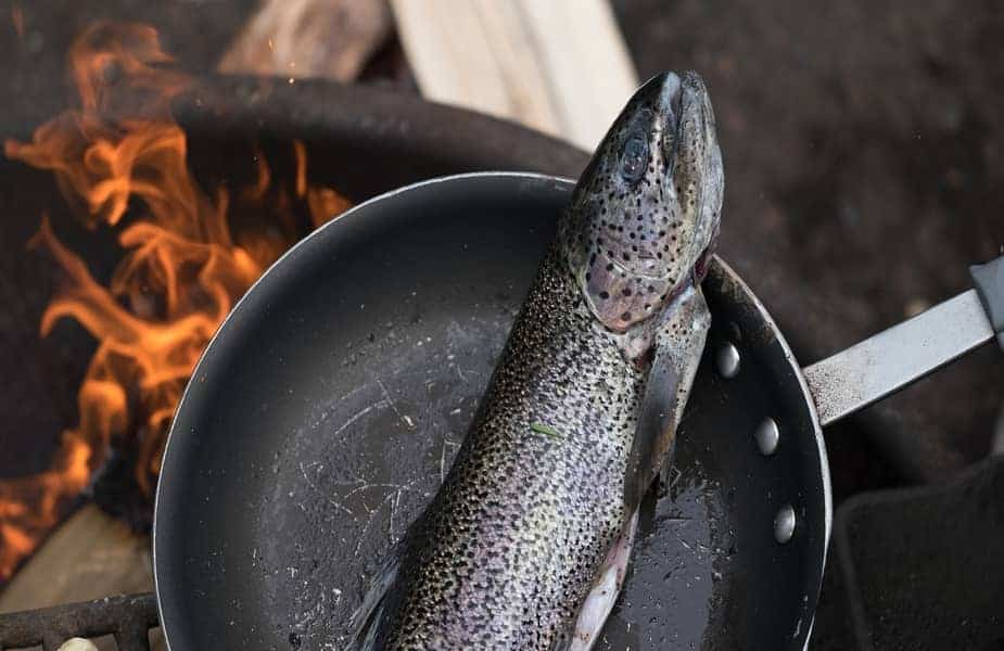 Fish in Pan Over Fire