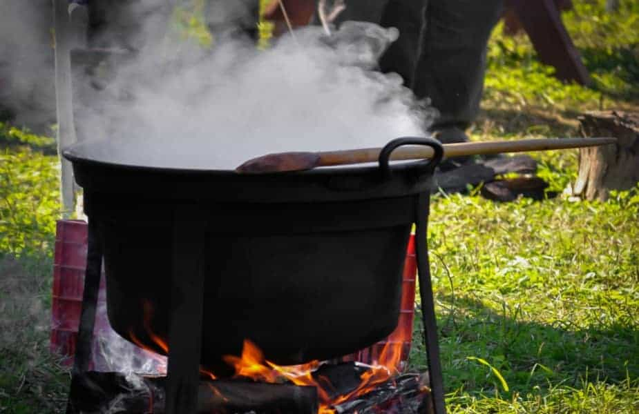 Steaming Food Over a Campfire