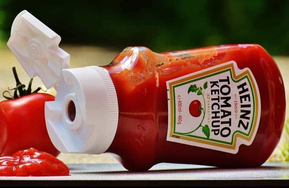 Ketchup Bottle Laying on Side Spilled