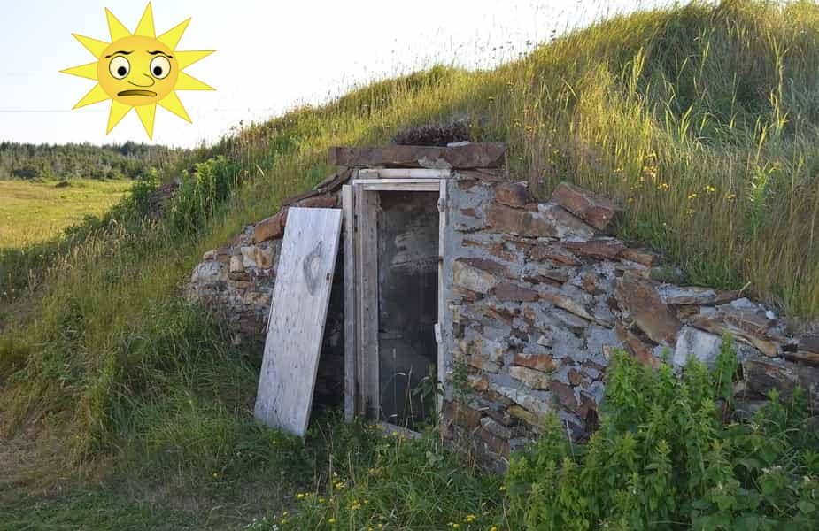 Root Cellar with Sun in Sky