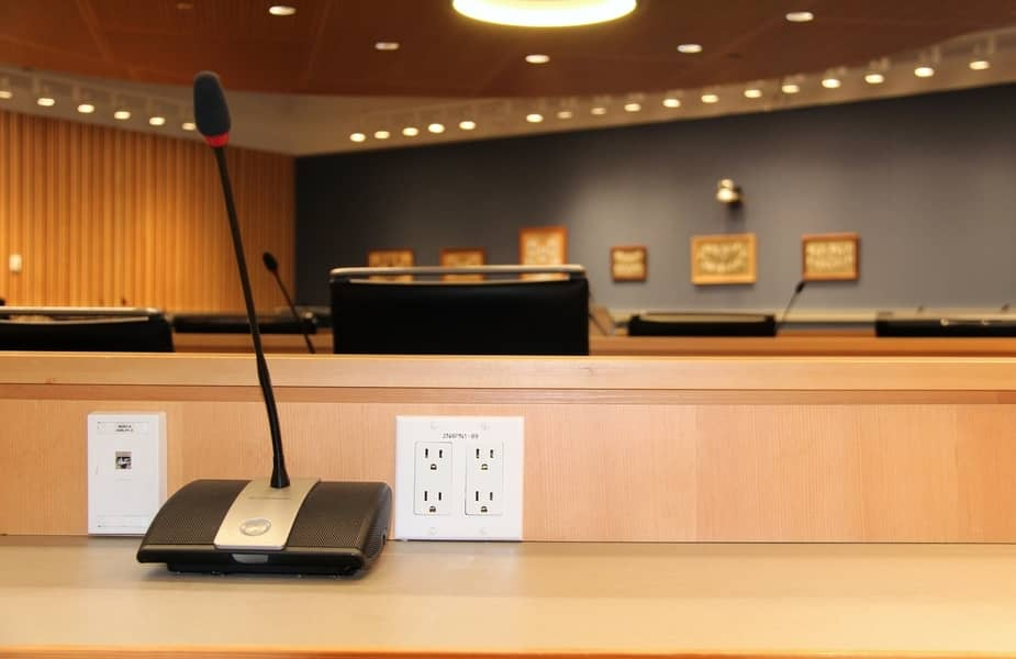 Public Desk with Electrical Outlets