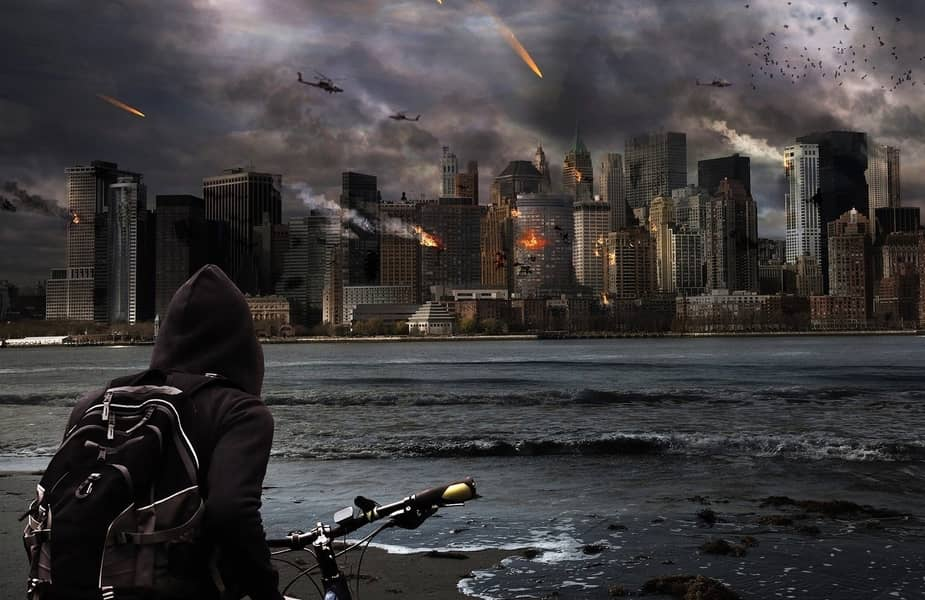 Man on Bike in Backpack Overlooking City Under Attack