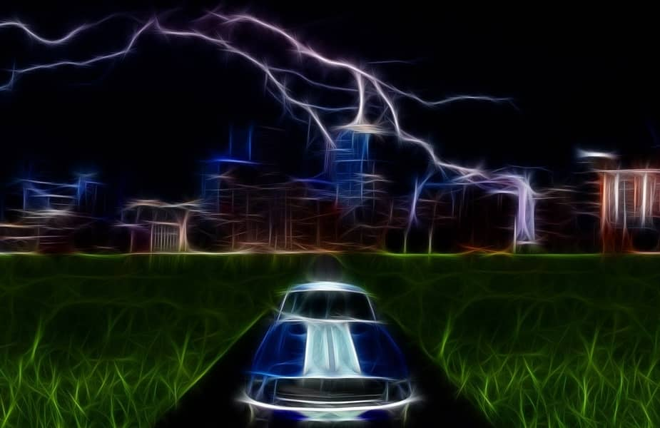 Car in Lightning Storm Animation