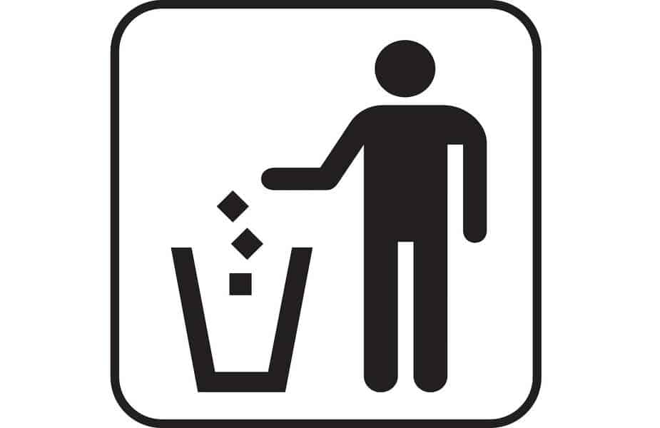 Cartoon Picture of a Man Throwing Away 3 Pieces of Trash Into a Garbage Can