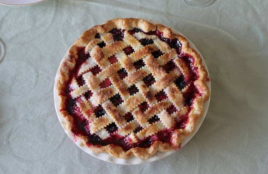 Overhead View of a Cherry Pie on a Table