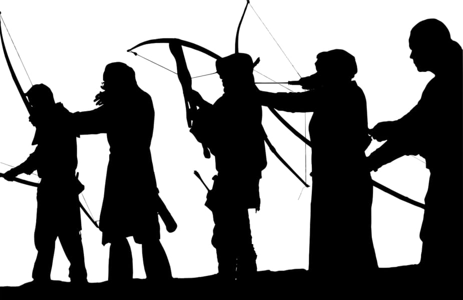 People Firing Bows and Crossbows Silhouette