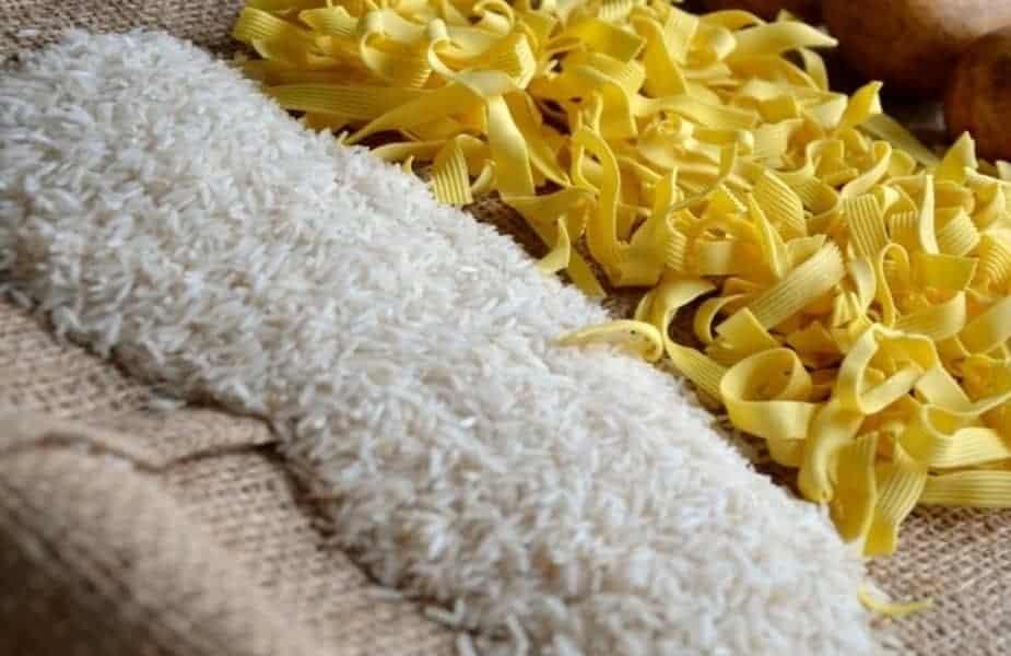 Rice Pasta Potatoes on a Burlap Bag