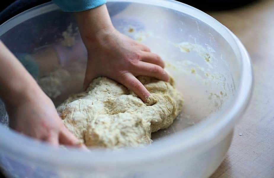 Dough Being Kneaded in a Bowl
