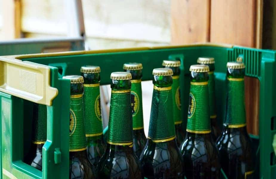 Several Beer Bottles in a Plastic Box