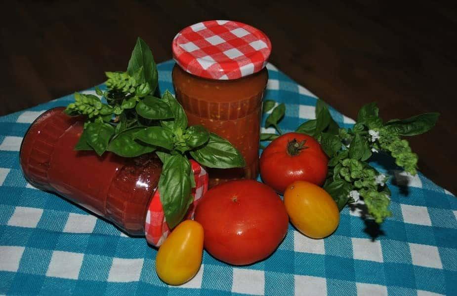 Two Homemade Bottles of Tomato Sauce