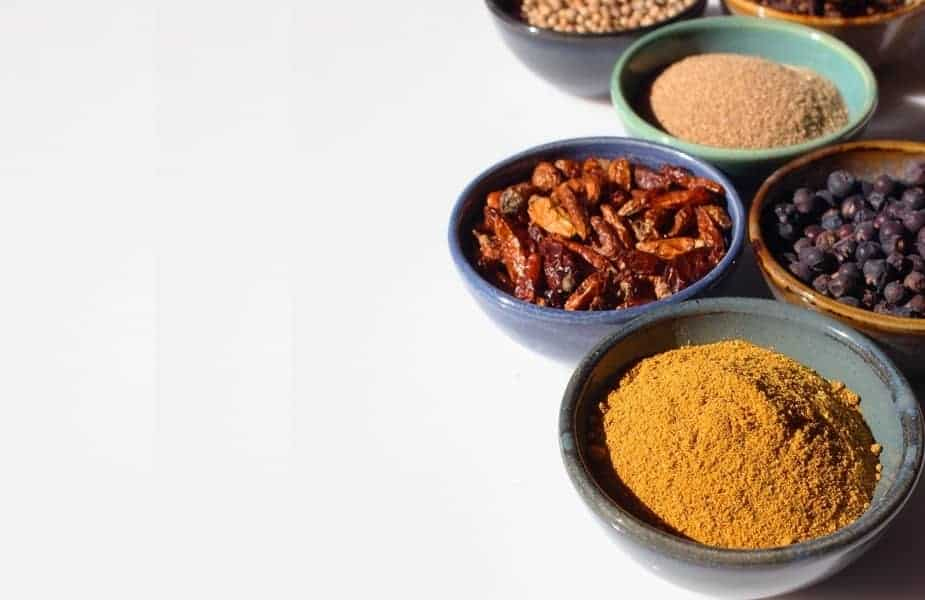 6 Bowls of Various Spices