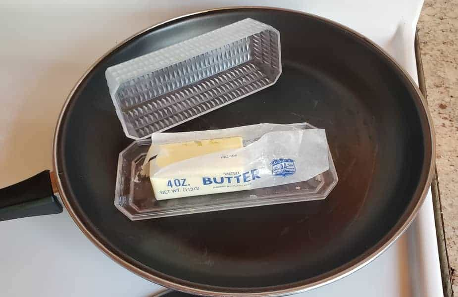 A Half-Used Stick of Butter in a Skillet