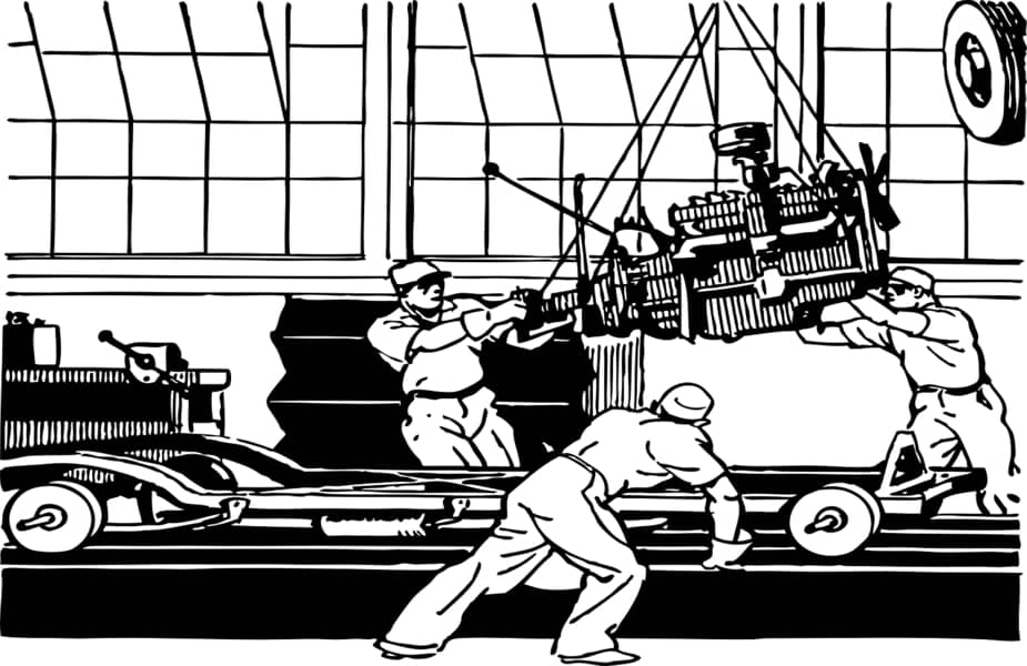 Black and White Cartoon Showing Three Men Manufacturing a Car