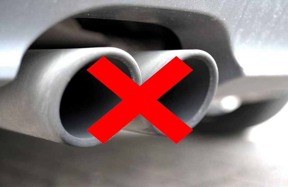 Car Exhaust Pipe with Red X