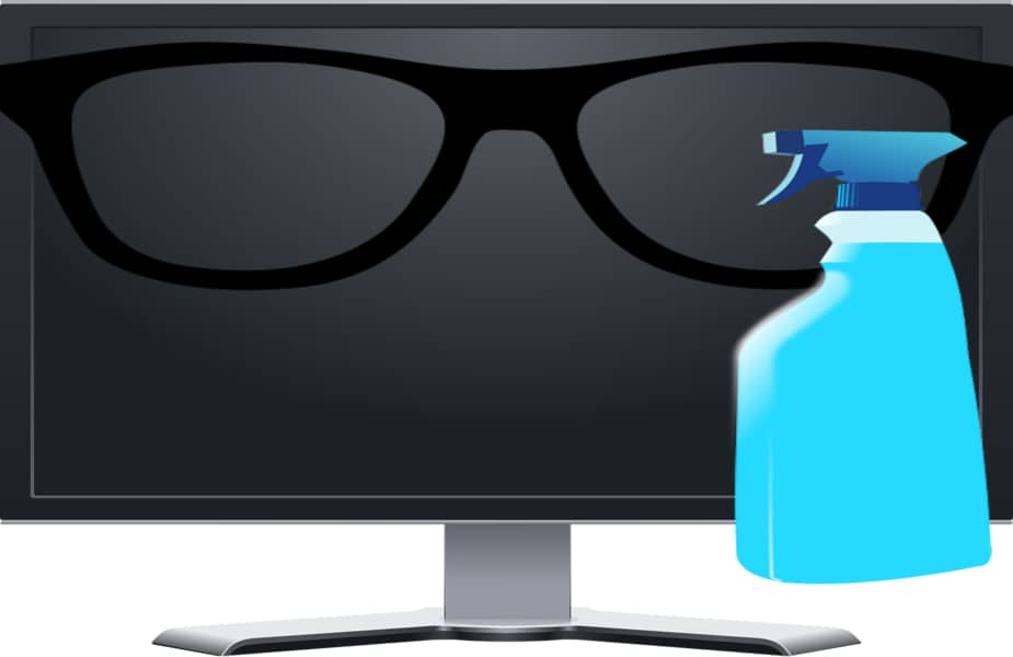 Computer Screen with Glasses and a Spray Bottle in Front