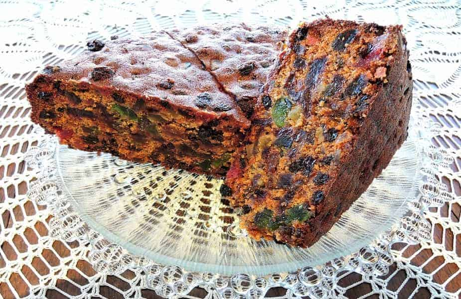 Fruitcake Cut in Half on a Doily