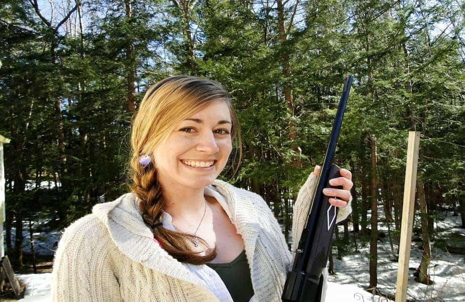 Girl Holding a BB or Pellet Gun