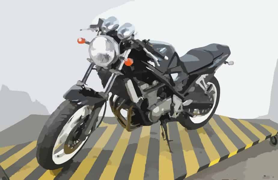 Motorcycle Vector Image on Warning Ramp