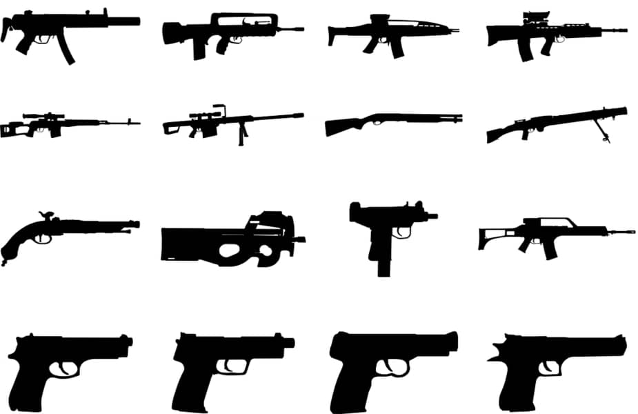 Silhouette of Numerous Assorted Guns