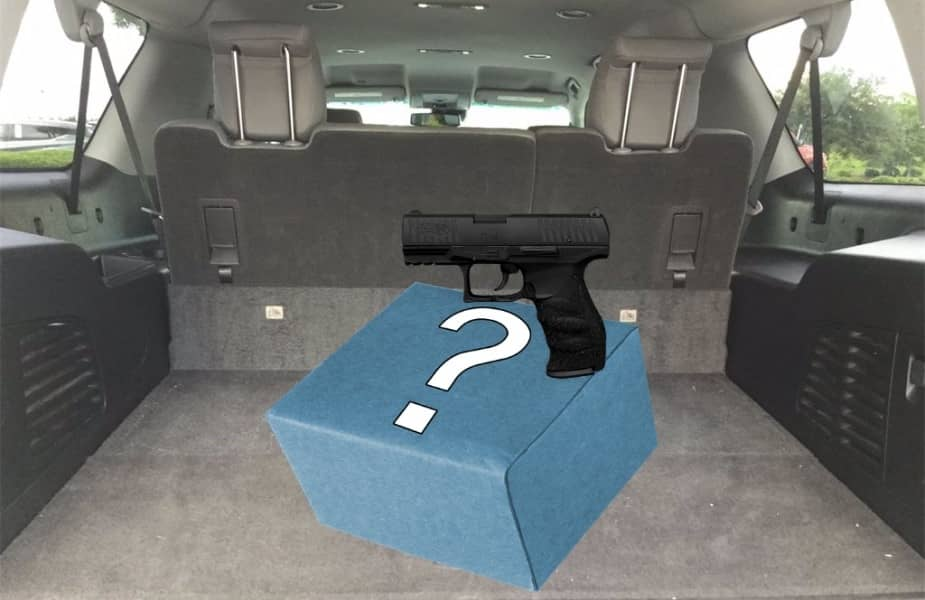 Back of SUV With Gun Over a Box with a Question Mark