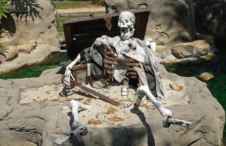 Pirate Skeleton Guarding Treasure Chest