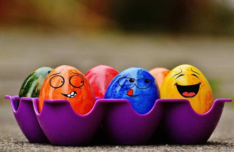 Easter Eggs With Funny Faces Drawn on Them