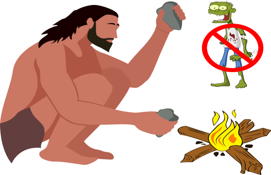 Primitive Man Making Fire with Zombie in Background