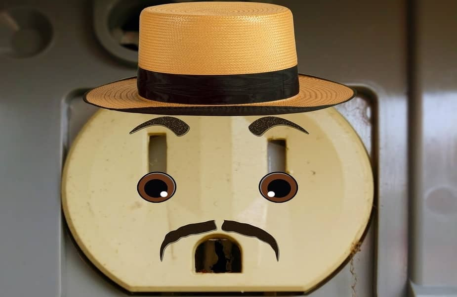 Electrical Outlet with Worried Face Cartoon