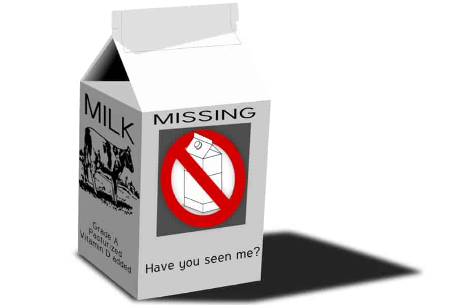 Milk Carton with Missing on the Label