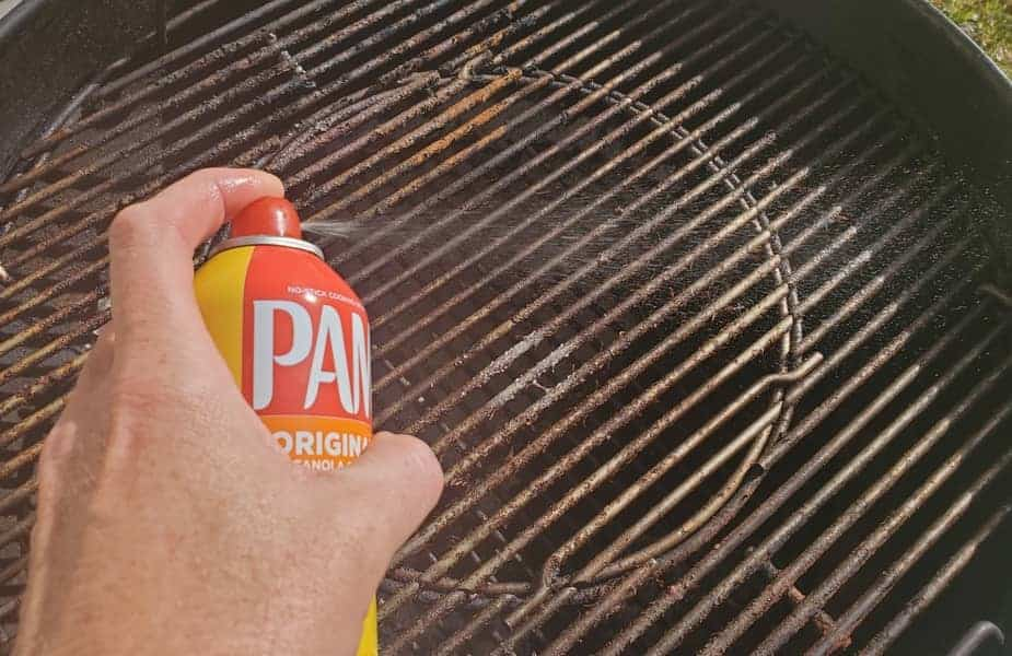 Spraying Pam on a Grill