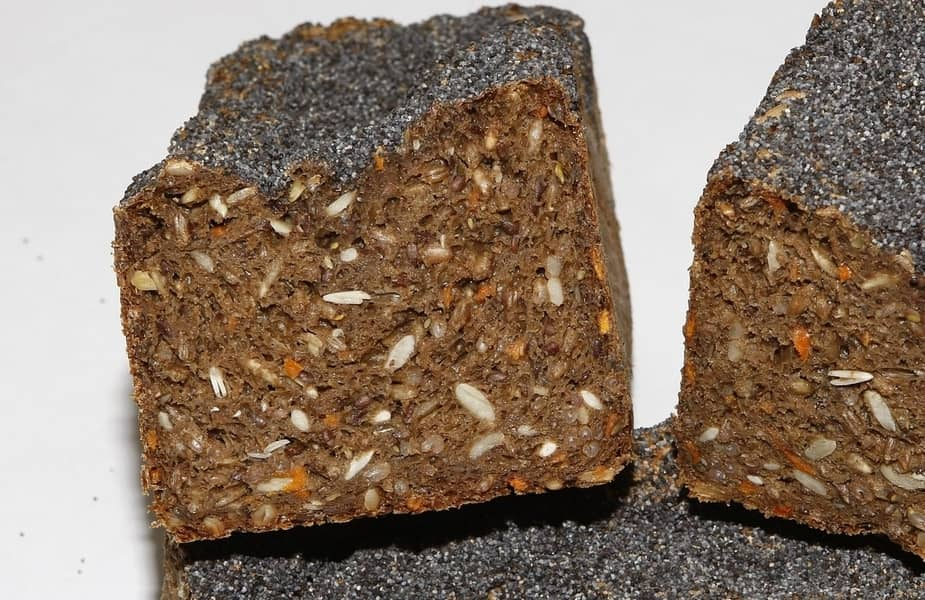Cut Rye Bread with Caraway Seeds Showing