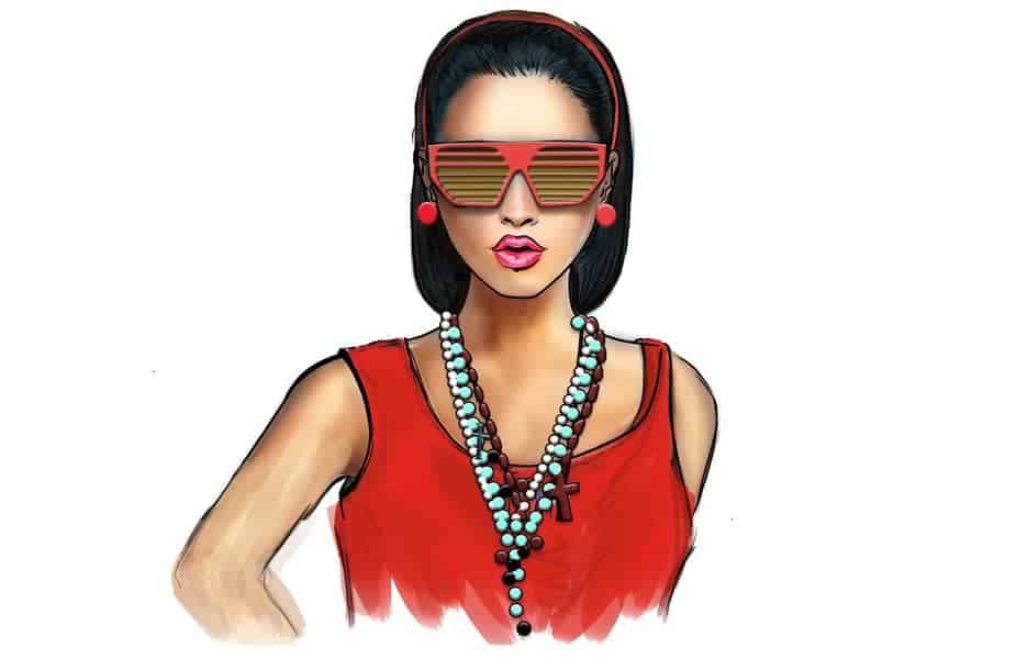 Tan Girl Wearing Sunglasses and Beats in a Red Shirt