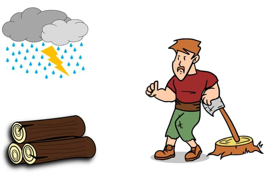 Unhappy Man Looking at Firewood Getting Rained On