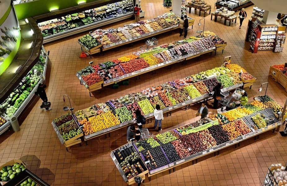 Overhead View of Supermarket Vegetable and Fruit Section