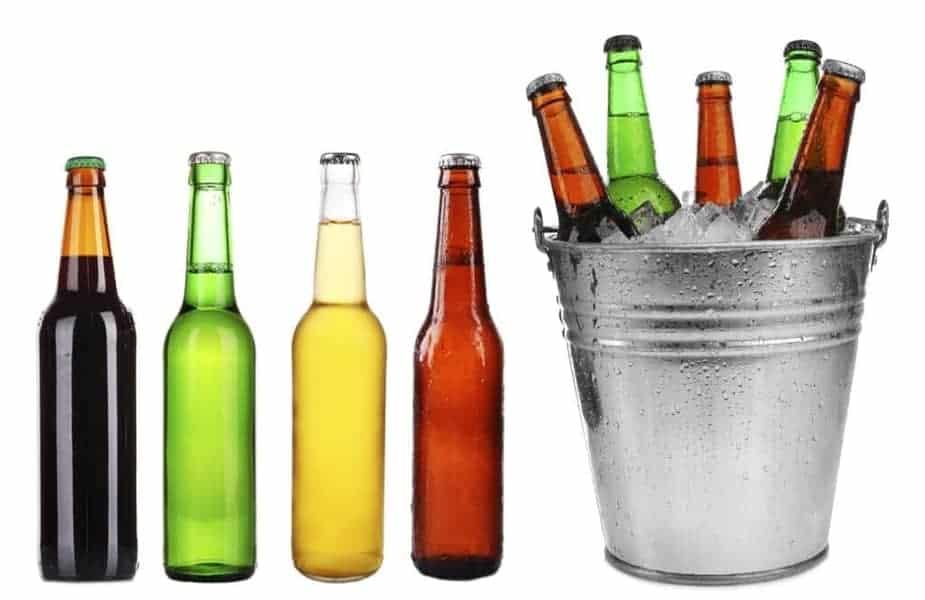 Various-Color-Beer-Bottles-and-a-Bucket-of-Ice