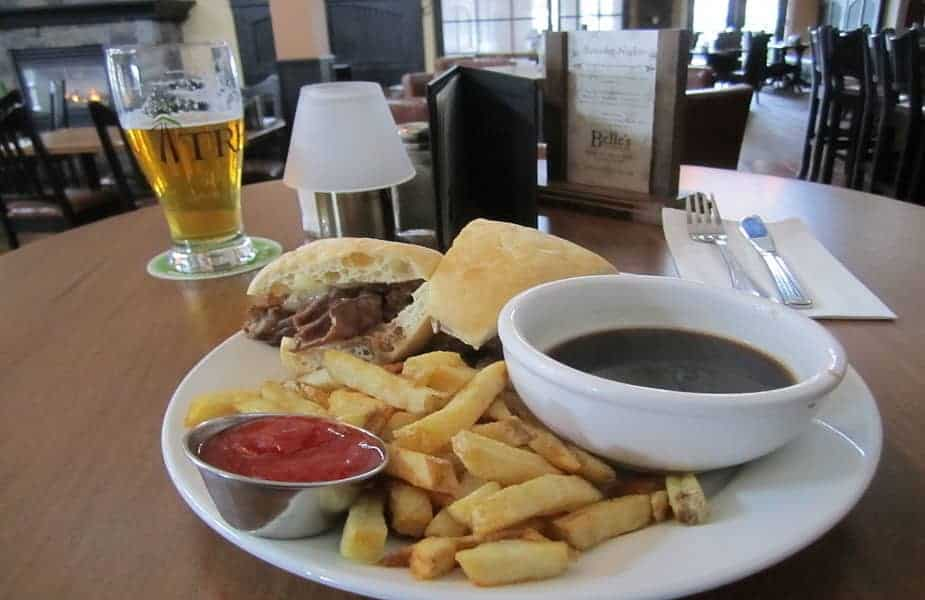 French Dip With Au Jus in a Tavern
