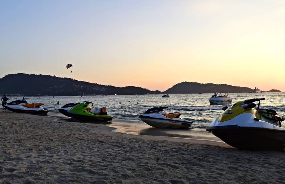 Multiple Jet Skis on a Beach