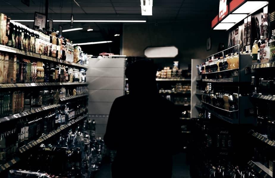 Sillouette Person in Liquor Store