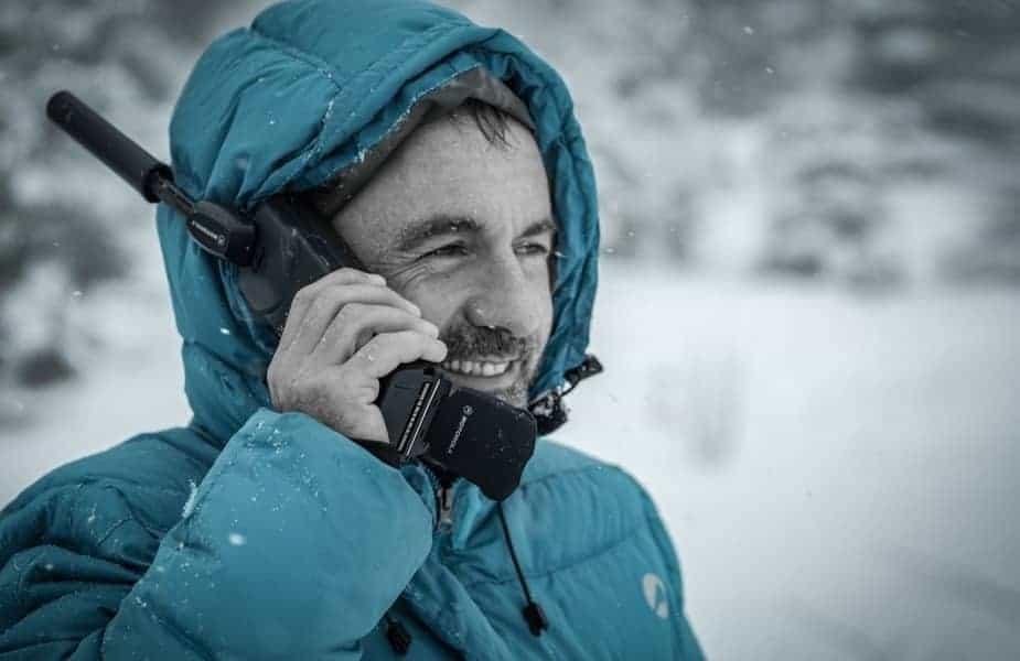 Man Talking on a Satellite Phone