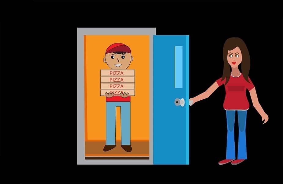 Pizza Delivery Driver at Door