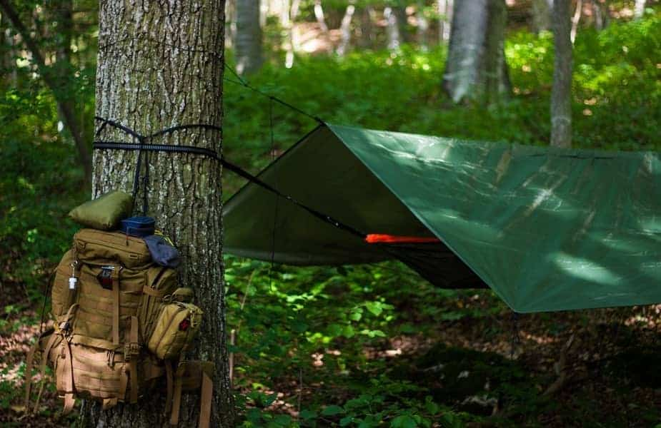 Tarp Hanging Between Trees with a Backpack Nearby