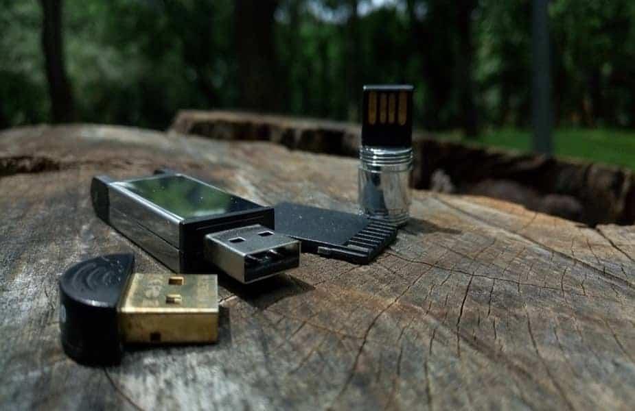 Three Flash Drives on a Stump
